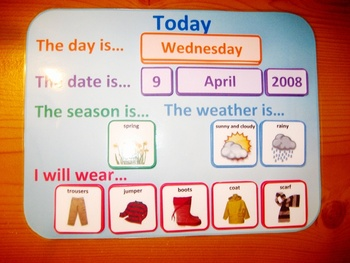 Weather and Wear Routine Daily Calendar. Austism Aspergers SEN PECS