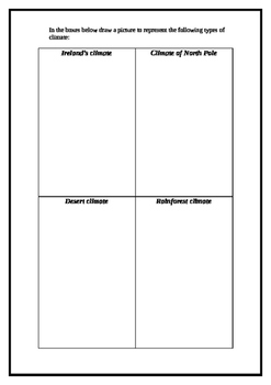 Weather and climate worksheet and wordsearch