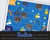 Weather, board game, table game, printable, Nature, Earth lessons, roll-and-move