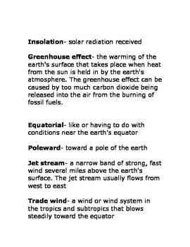 Weather- by Seymour Simon Vocabulary packet Ready Gen Grade 3 Module 3B