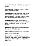 Weather- by Seymour Simon Vocabulary packet Ready Gen Grad