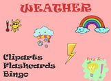 Weather cards & Bingo! English and Spanish! PNG, Editable PPT, Color & Lineart