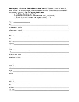 Weather, clothes, faire expressions worksheet