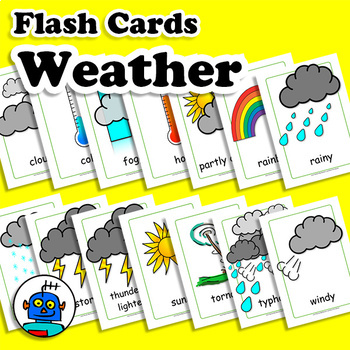 Weather Flash Cards, Climate Vocabulary Cards, ESL, EFL English Word Wall