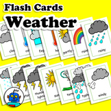 Weather Flash Cards, Climate Vocabulary Cards, ESL, EFL En