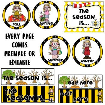 Weather and Season Cards- Bee Theme  Editable