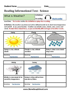 K - 2 Weather for Students with Physical Disabilities