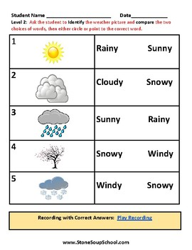 K - 2 Weather for Students with S & L Speech and Language Disabilities