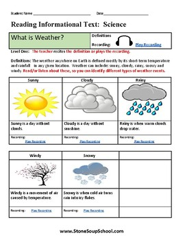 K- 2nd Grade - Weather for Gifted and Talented Students - ESSA