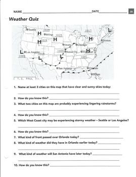 Weather fronts quiz