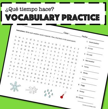 Weather in Spanish Vocabulary Practice / ¿Qué tiempo hace? Activities Worksheets