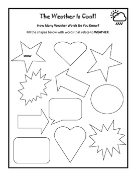 Weather is Cool! 28 page Introduction unit. ..with extra words for word walls
