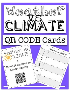 Weather or climate teaching resources teachers pay teachers review weather or climate 12 qr code task cards staar review fandeluxe