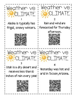 Weather or Climate?   12 QR Code Task Cards  STAAR REVIEW
