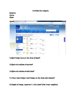 Weather practice real time bellwork/worksheet