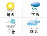 Weather, shape, color, season Flash cards, Traditional Chinese