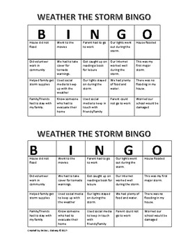Weather the Storm Bingo
