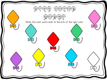 Weather theme Kite Color Word Matching Mat