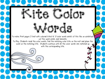 Weather Kite Color Word Matching Mat
