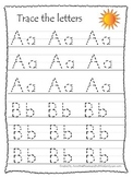 Weather themed A-Z tracing preschool educational worksheets.  Daycare alphabet.