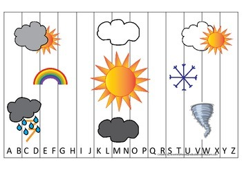 Weather themed Alphabet Sequence Puzzle preschool educational printable game.