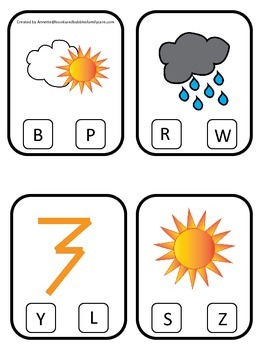 Weather themed Beginning Sounds Clip it Cards preschool homeschool game.