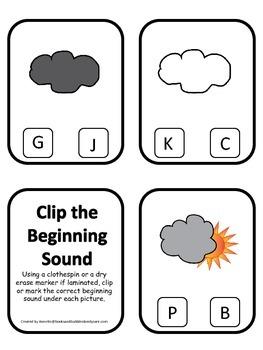 Weather themed Beginning Sounds Clip it Cards preschool homeschool game.