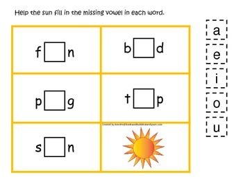Weather themed CVC activity #1.  Preschool and daycare vowel and phonics game.