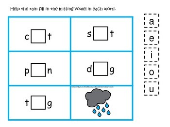 Weather themed CVC activity #3.  Preschool and daycare vowel and phonics game.