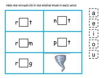 Weather themed CVC activity #4.  Preschool and daycare vowel and phonics game.