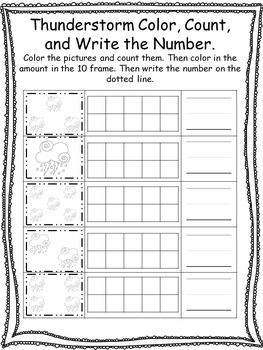 Weather themed Color, Count, and Write the Number. Preschool-Kindergarten Math.