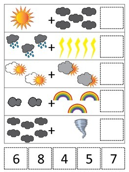 Weather themed Math Addition preschool printable game.  Daycare curriculum.