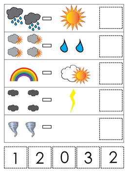 Weather themed Math Subtraction preschool learning game. Daycare math