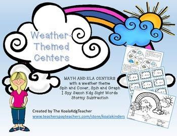 Weather themed Math and ELA Centers