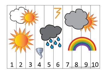 Weather themed Number Sequence Puzzle.  Preschool simple math activity for child