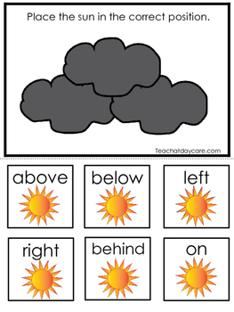 Weather themed Positional Game.  Printable Preschool Curriculum Game