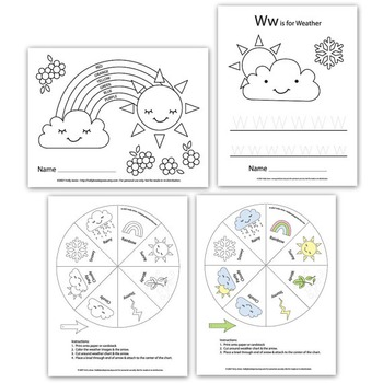 Weather unit worksheets for Preschool & Elementary aged kids