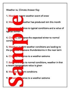 Weather vs. Climate Practice Worksheet