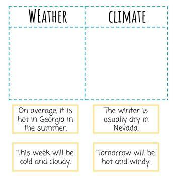 Weather vs Climate Matching & Sorting   Paper & Digital   NGSS