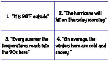 Weather vs. Climate Task Cards TEKS 5.8A