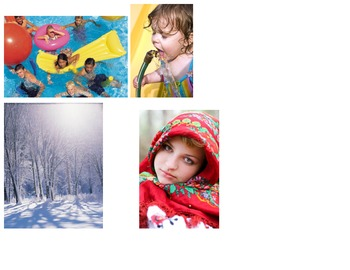 Weather words cut and paste sort ESL real pictures Science Kindergarten