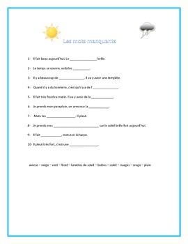 Weather worksheet - French vocabulary