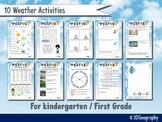 Weather worksheets for Kindergarten & First grade - 10 activities