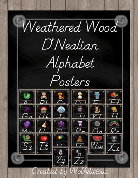 Weathered Wood Alphabet Posters D'Nealian