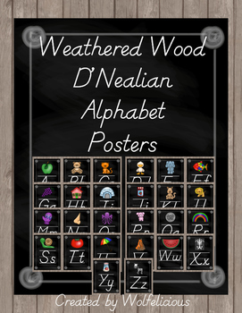 Weathered Wood Alphabet Posters D'Nealian