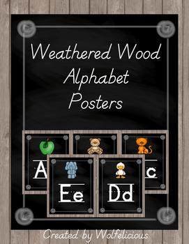 Weathered Wood Alphabet Posters Zaner Bloser