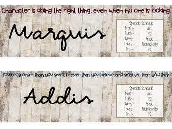 Weathered Wood Grain Nameplates *Editable*