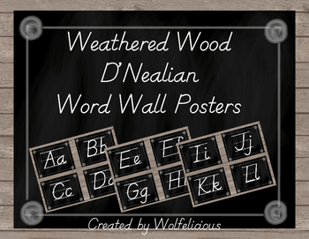 Weathered Wood Word Wall Posters D'Nealian