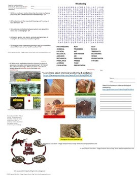 Weathering Earth Science Quiz Special Education/Autism/ID/SLD/ED/ODD/OHI/LD/ESL