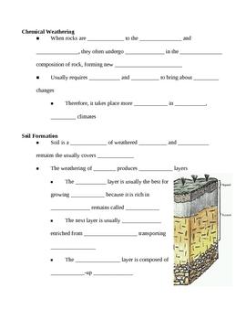 Weathering Erosion Deposition Landscapes Notes Outline Lesson Plan